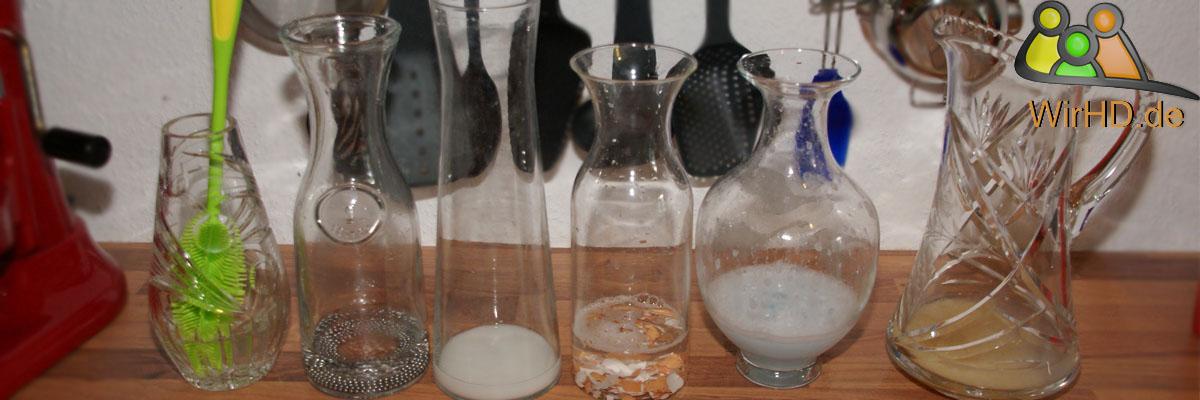 Wasserkaraffen Reinigung, Wasserkaraffe reinigen, Karaffe sauber bekommen, Karaffen säubern, Glaskaraffe putzen