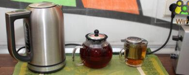 Wasserkocher mit Temperatureinstellung, Tee, Teekanne, Teeglas, Teekannen mit Sieb und Deckel.