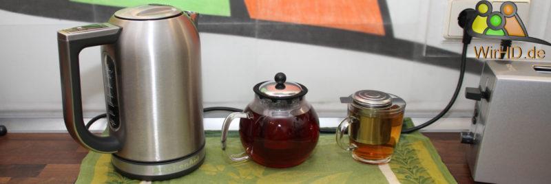 Wasserkocher mit Temperatureinstellung.