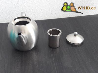 Teekanne mit Sieb und Deckel aus Edelstahl, Edelstahlteekanne,