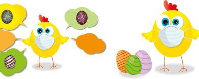 Mundschutz mit bunten Ostereiern, Bunte Eier Ostermotive, Motive passend zu Ostern, Ostereier Maske, Osterhase, Ostereier, Osterbräuche, Ostern, 2021