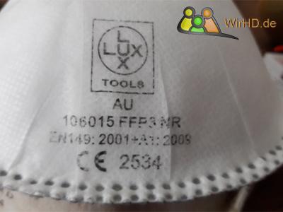 FFP3-Masken, Nicht wiederverwendbare FFP3-Maske, CE Zeichen, Schutzklasse.