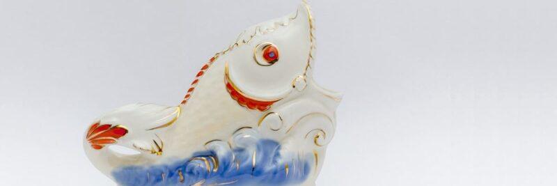 Wasserkaraffe in Fischform, Gluggle Krug, Gluckerkrug, Karaffe in Form eines Fisches