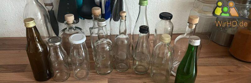 Glasflaschen kaufen in der Nähe, Flaschen aus Glas.